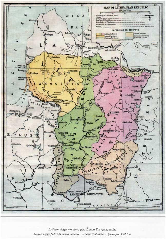 Lietuvos Eespublikos žemėlapis 1920