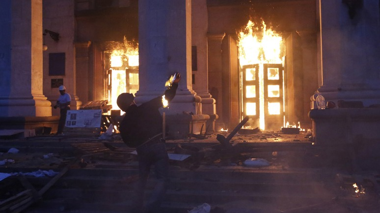 Padegti Odesos profsąjungų rūmai