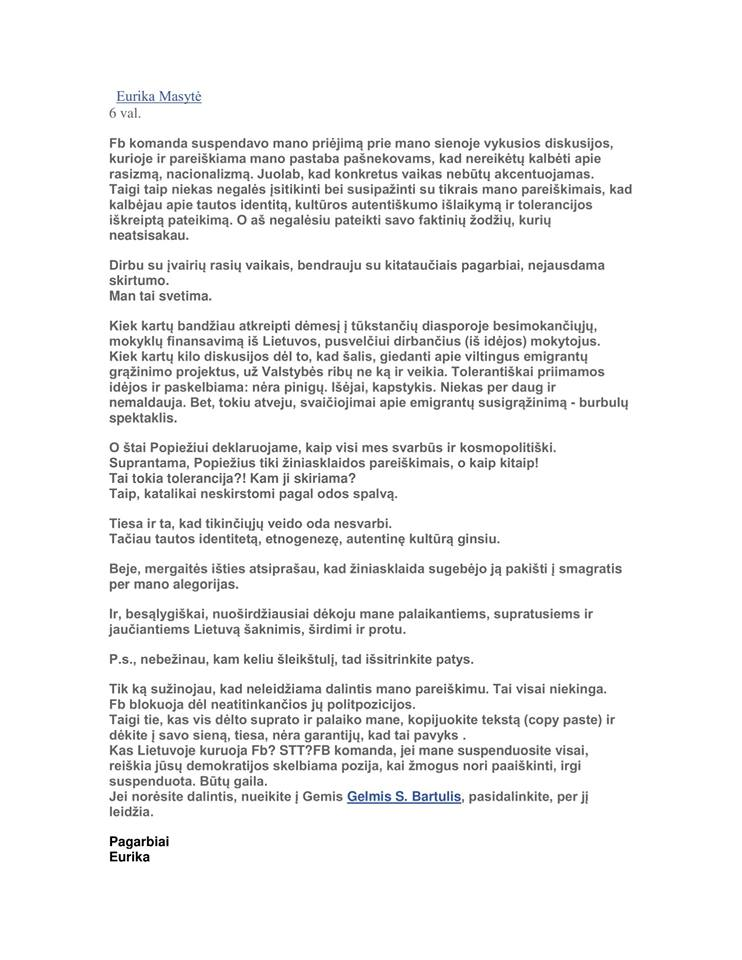 Eurikos Masytės tekstas