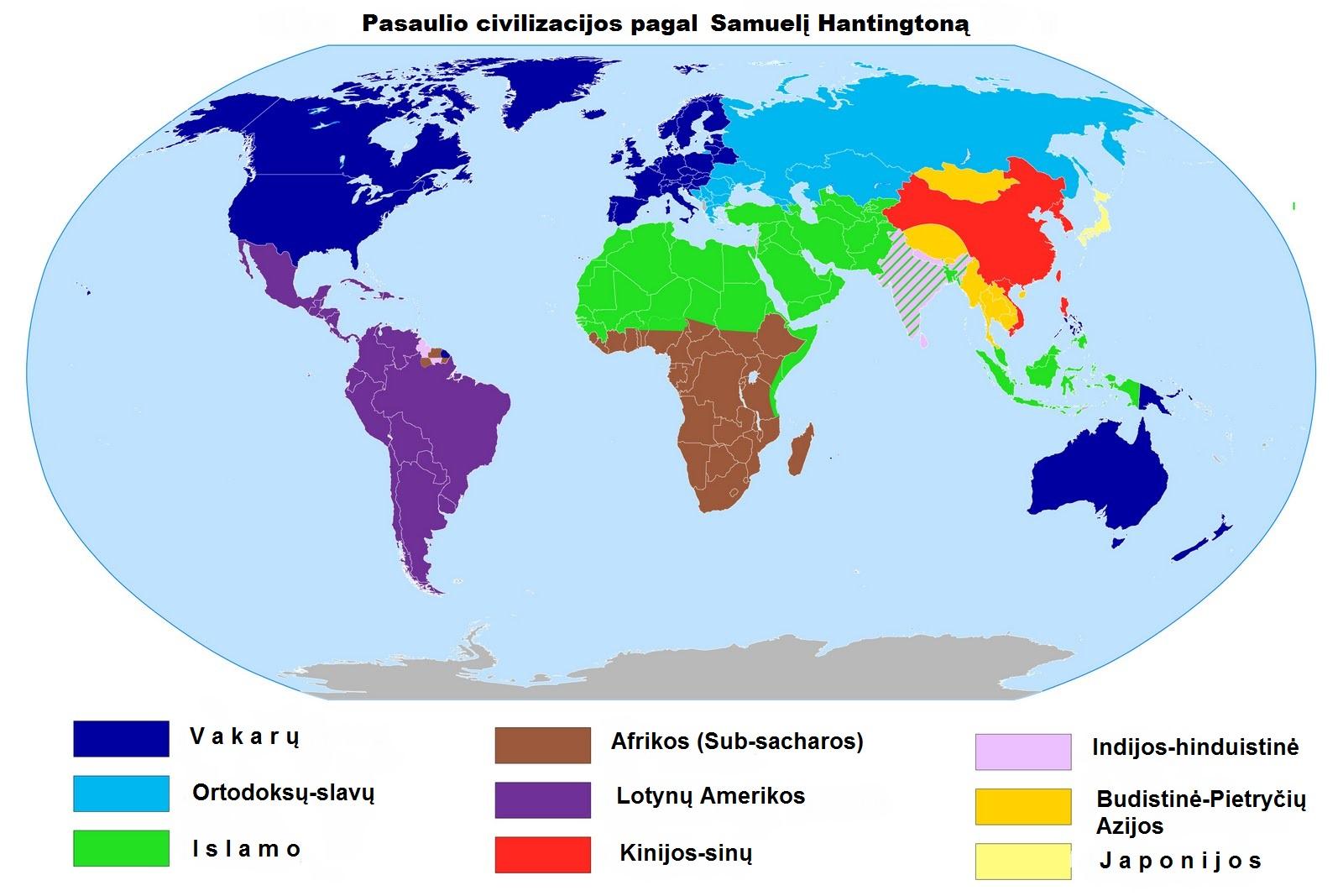 Pasaulio civilizacijos pagal Samuel Huntington