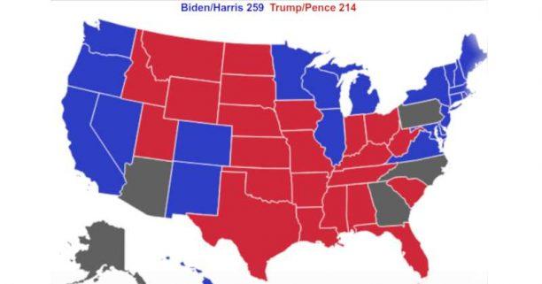 Interaktyvus JAV prezidento rinkimų rezultatų žemėlapis 2020-11-11 | realclearpolitics.com