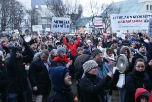 Islandijos protestuotojai