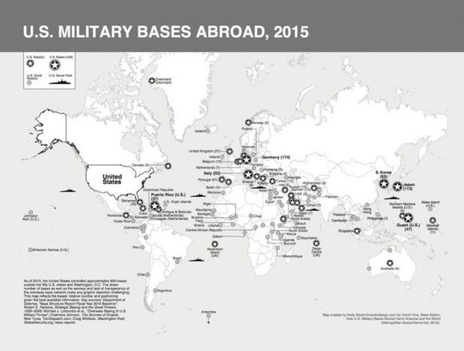 JAV karinių bazių žemėlapis